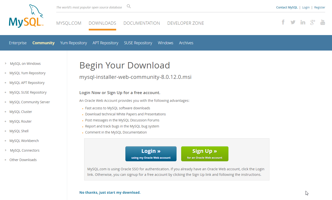 MySQL Begin Your Download